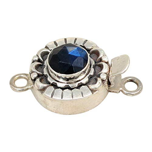 LABRADORITE CLASP Moon Petal Design Faceted Rose Cut Blue Black 8mm (Moon Clasps Blue)