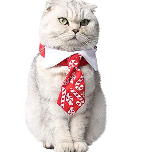 ANIAC Pet Elastic Sweets Necktie with Bow tie Collar Neck Accessories for Cats and Dogs Red
