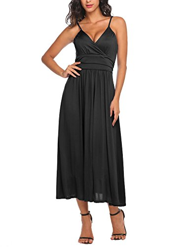 Ruched Spaghetti Straps - Beyove Women's A Line Fit Flare Maxi Dresses with Adjustable Spaghetti Straps Black XXL