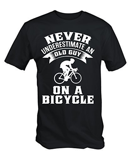 6TN Mens Never Underestimate an Old Guy On A Bicycle Funny Cycling T Shirt (Large) ()