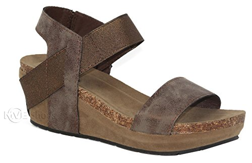 MVE Shoes Women's Open Toe Strappy Wedge - Summer Vegan Leather Platform Sandal - Low Heeled Sandals, Bronze Size (Bronze Heeled)