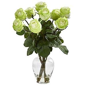 "Nearly Natural 1811-GR 19"" Rose Artificial Glass Vase Silk Arrangements Green 89"