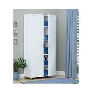 White 36 inch 2 door storage cabinet kitchen for Kitchen cabinets amazon