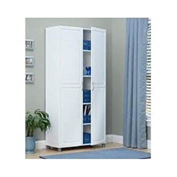 White 36 Inch 2 Door Storage Cabinet Kitchen Pantry Laundry Room Cupboard Armoire
