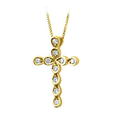 llow Gold Diamond Cross Pendant Necklace (0.08 Carat) (10k Yellow Cross Diamond Pendant)