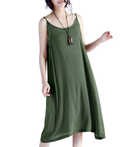 YESNO JEL Women Casual Loose Slip T-Shirt Dresses Beach Cover up Plain Dress A Skirt Hemline (2XL, JEL Army Green)