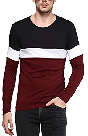 d9db96b5e4a Urbano Fashion Men's Cotton Color-Block Round Neck Full Sleeve T-Shirt