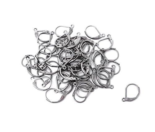 Honbay 50pcs Stainless Steel Lever Back Hoop Earrings Open Loop Ear Hook