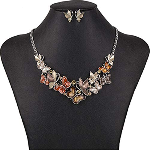 ZHENFSH MS1504462 Fashion Jewelry Sets Hight 5Color Quality Necklace Sets for Women Jewelry Multicolored Crystal Unique Butterfly Light Yellow Color