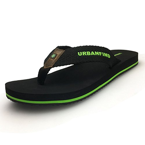 URBANFIND Men' Fashion Sandals Lightweight Beach Slippers Black, 13 D(M) - Fashion Mens Beach