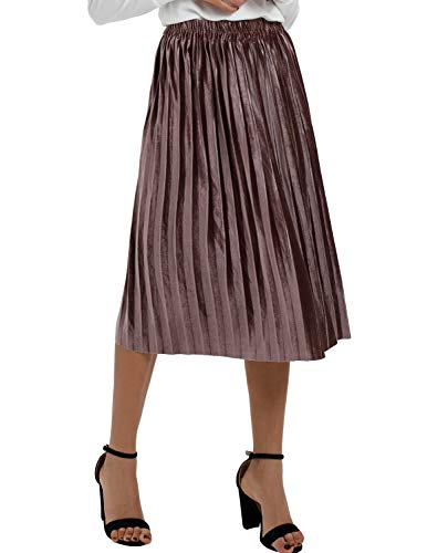 Moxeay Women High Waist Velvet Pleated A-Line Midi Skirt(M, Coffee) ()