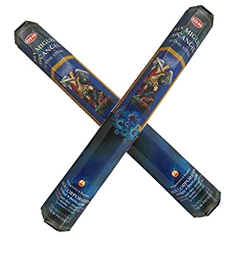 Gifts by Lulee, LLC San Miguel Arcangel Hem Incense Hand Rolled in India Set of 40 Sticks and Wood Burner Incienso Hecho a Mano en India Incluye Quemador
