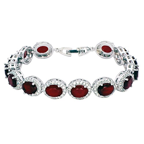 Hermosa Oval Ladies Tennis Bracelet Sapphire Ruby Emerald White Topaz Silver 7 inch (Ruby)