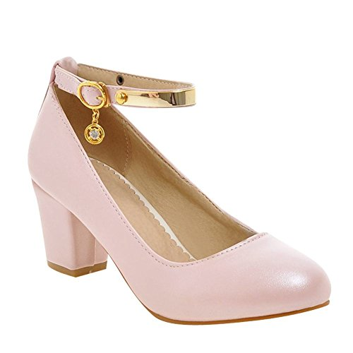 Mee Shoes Damen chunky heels Ankle Strap runde Pumps Pink