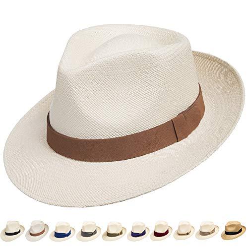 Ultrafino Genuine Havana Classic Panama Straw Dress Hat Comfortable Leather Hatband 7 1/4