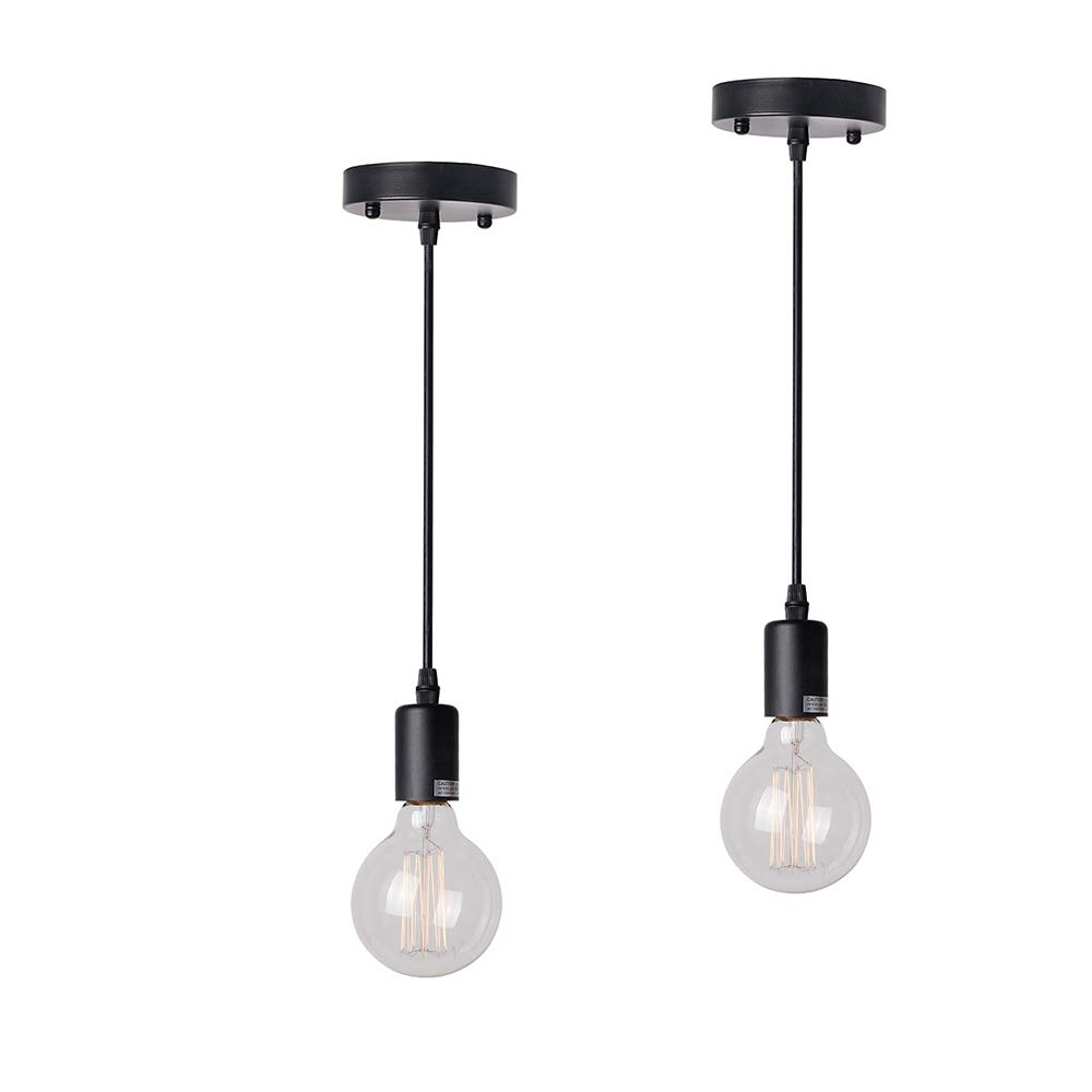 Anmytek Simple Pendant Light Vintage Edison Industrial Hanging Lamp with Ceiling Plate Simple Black Chandelier Using E26 Bulb (Bulbs not Included)