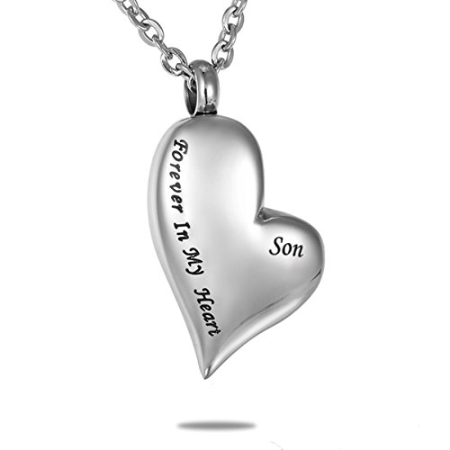HooAMI Forever in My Heart Son Cremation Urn Necklace Pendant Memorial Keepsake