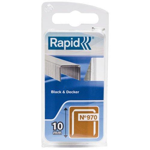 Rapid, 40109551, Agrafes en fil plat N°970, Longueur 10mm, 896 pièces, Pour les outils Black&Decker, Fil galvanisé
