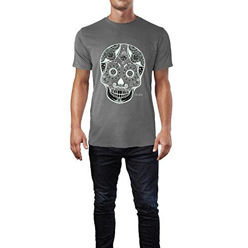SINUS ART® Weißer mexikanischer Totenkopf mit Ornamenten Herren T-Shirts in Grau Charocoal Fun Shirt mit tollen Aufdruck