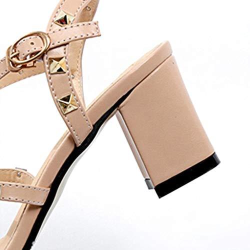 Boucle Pour Hauts Hauts Talons Des Sandales Carré D'été Chaussures De De Strap Beige Femmes Bijoux Parti Femmes Rivet Mode De Élégant ❤ Talons Avec Vicgrey qP60Ex8