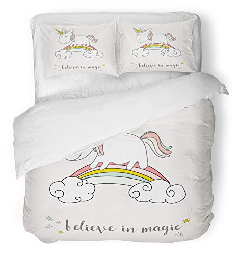 Emvency 3 Piece Duvet Cover Set Breathable Brushed Microfiber Fabric Pink Birthday Cute Unicorn and Rainbow Magical Happy Fairy Sweet Baby Pony Kids Bedding with 2 Pillow Covers Full/Queen (Enchanted Duvet Cover Set)