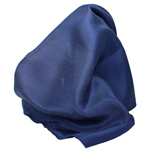 - Fine Navy Blue Silk Pocket Square - Full-Sized 16