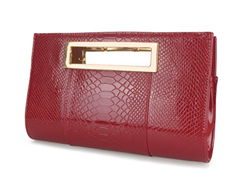 - Hoxis Classic Crocodile Pattern Faux Patent Leather Cut It Out Clutch with Shoulder Strap Womens Handbag (Red)