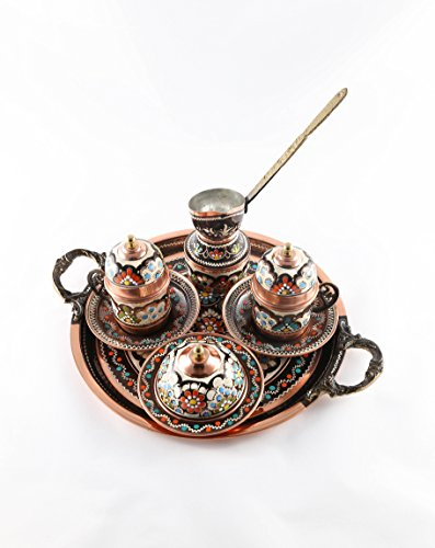Traditional Design Handmade Copper Turkish Greek Arabic Armenian Coffee Espresso Set for Two with Coffee Pot