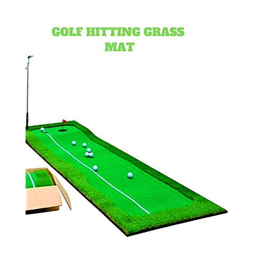 Paradise Treasures Golf Putting Green System Professional Practice Green Long Challenging Putter Indoor/Outdoor Golf Simulator Training Mat Aid Equipment Gift for Dad (2.6ftx10ft 2 Lane Green) by Paradise Treasures (Image #1)