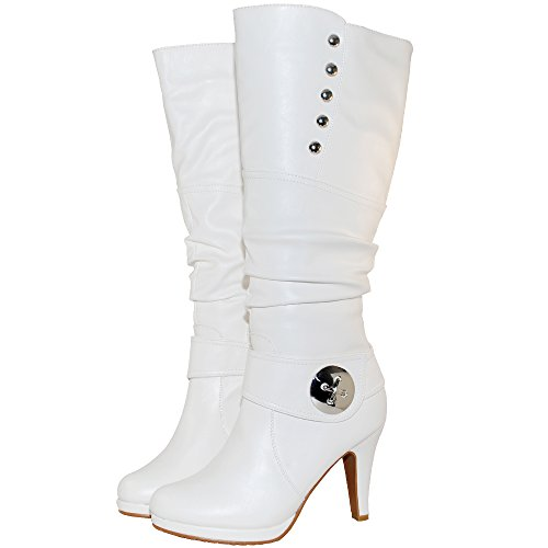 TOP Moda Womens Win-45 Knee High Round Toe Slouched High Heel Boots (8.5, White)