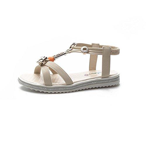 RUGAI-UE Sandalias, sandalias de verano, sandalias de mujer, zapatos romanos. white