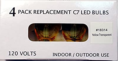Creative Hobbies Replacement Lamp C7 / 3 LED / 0.4W / LED Candelabra Base C7 Light Bulbs , Yellow Transparent , 4 Bulb Value Pack