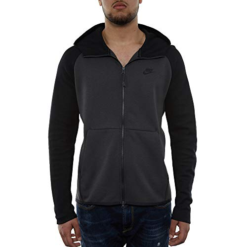 Nike Mens Tech Fleece Full Zip Hoodie Sweatshirt Anthracite/Black 928483-060 Size Large (Fleece Nike Sweater)