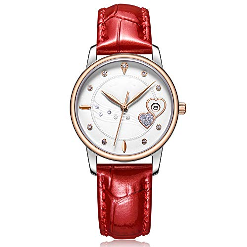 - JJJ Women's Watch, Shiny Diamond Waterproof Leather Strap Heart Shaped Analog Quartz Watch for A Variety of Banquets and Offices,Red