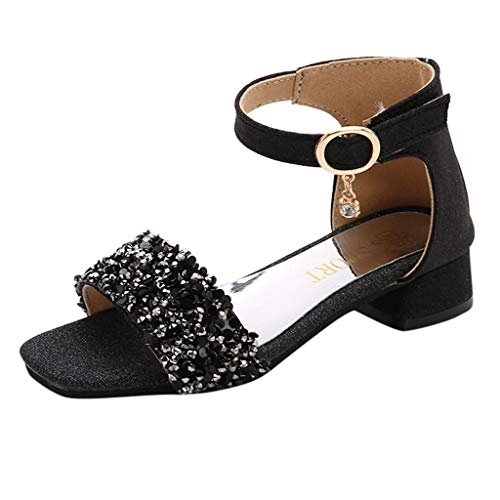 Tantisy ♣↭♣ Girls' Kids Open Toe Strappy Rhinestone Dress Sandal Low Heel Shoes - Wedding, Dress, Dance, Flower Girl Black ()