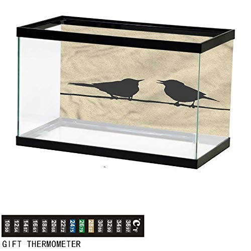 bybyhome Fish Tank Backdrop Birds,Grungy Silhouettes on Wire,Aquarium Background,24