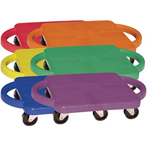Champion Sports Standard Scooter Board with Handles - Set of 6, Multi-Colored