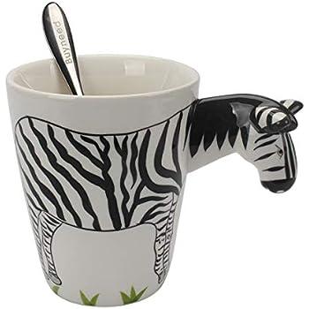 Novelty Funny Hand Painted Coffee Mug - Zebra 3D Handle Handmade Large 15 oz Porcelain Tea Cup Unique Ideal Gifts