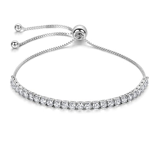 J.Fée Adjustable Bangle Bracelet Cubic Zirconia Diamond Silver Tone Bracelet for Women Christmas Birthday Gifts for Girls Wife Girlfriend Daughter for Sister Mom Her Link Bracelet by J.Fée