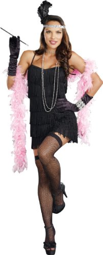 1920's Costumes Halloween (Women'S Costume: Flapper Basic Dress- Small - Product Description - Black Dress With Fringe On The Front And Back With Adjustable Shoulder Straps. Polyester. Adult Women'S Small Fits Sizes 2-6. Great 1920S Look! ...)