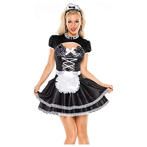 LVLUOYE Halloween Black and White French Maid Costume, Maid Costume, French Chef Uniform ()