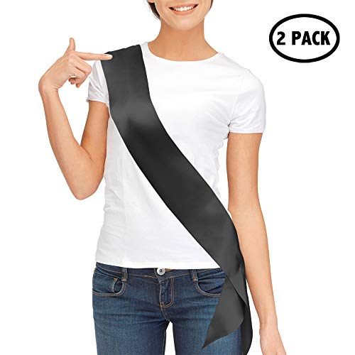 TREORSI Blank Satin Sash, Plain Sash, Party Decorations, Make Your Own Sash, 2 Pack (Black)