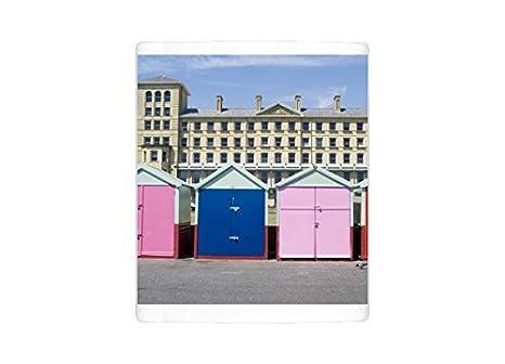 Taza de la foto de cabañas de playa, Hove, Sussex, Inglaterra, Reino Unido, Europa: Amazon.es: Hogar