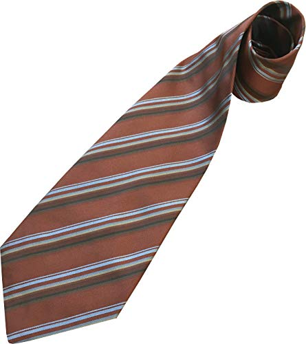 Men's Silk Extra Wide 5 Inch Kipper Neck Tie (Brown with Sky Blue Stripes)