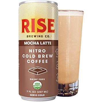 RISE Brewing Co.   Mocha Latte Nitro Cold Brew (7 fl. oz. Cans) - USDA Organic, Non-GMO   Vegan & Dairy Free Clean Energy, Low Acidity, Slightly Sweet & Refreshingly Smooth 150 Calories (Pack of 24)