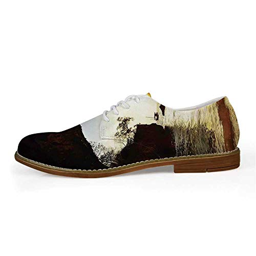 Natural Cave Decorations Comfortable Leather Shoes for Men,US Size 12