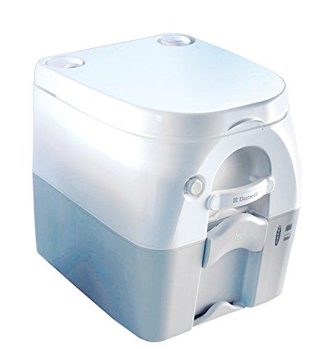 Dometic 9108557681 Portable 976 mit 360° Druckspülung Campingtoilette, Abwassertank 18.9 Liter, Weiß/Grau