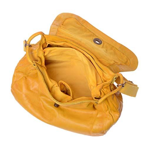 Lavado Bolso Solapa Y Yellow Piel Dudu Saffron Teñida Prenda Con En Bandolera De Mujer 55rwxqFU