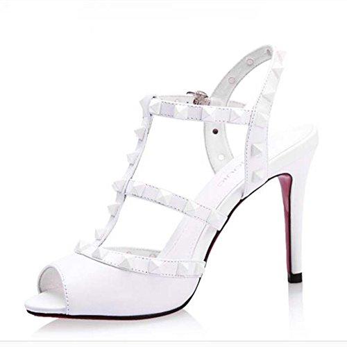 con Nine blanco tacón SevenSandals mujer Zapatos wwxq6TEg
