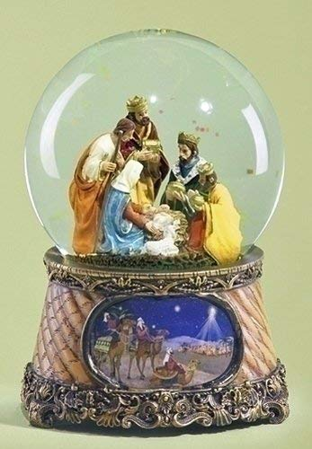 Christmas Snow Globe - Nativity Musical Snowglobe - Nativity Waterglobe - Three Kings - Holy Family Water Globe